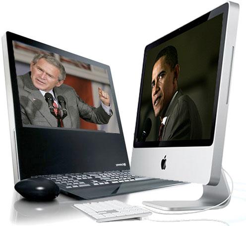 a pc and mac desktop computer